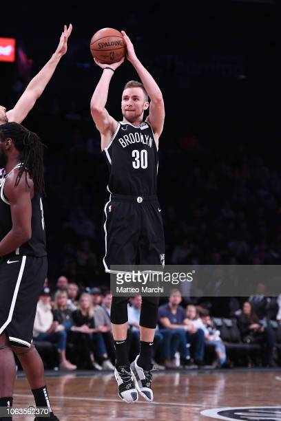 Dzanan Musa of the Brooklyn Nets shoots the ball during the game against the Philadelphia 76ers at Barclays Center on November 04 2018 in the...