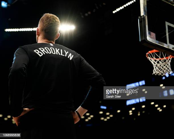 Dzanan Musa of the Brooklyn Nets watches warmups before the game at Barclays Center on November 17 2018 in New York City NOTE TO USER User expressly...