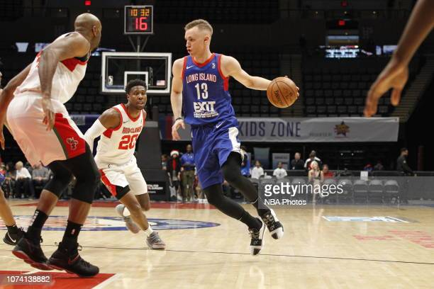 Dzanan Musa of the Long Island Nets dribbles the ball against the Maine Red Claws during an NBA GLeague game on December 16 2018 at the NYCB Live...