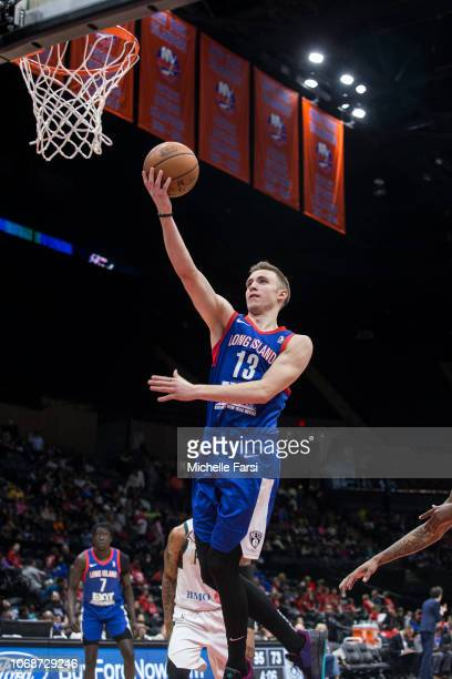 Dzanan Musa of the Long Island Nets drives to the basket against the Wisconsin Herd during an NBA GLeague game on December 4 2018 at NYCB Live Home...