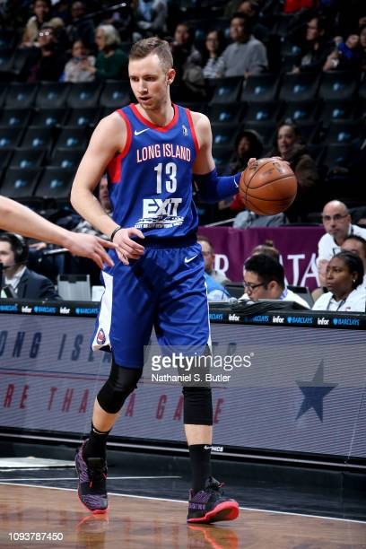 Dzanan Musa of the Long Island Nets handles the ball against the Fort Wayne Mad Ants on February 4 2019 at Barclays Center in Brooklyn New York NOTE...