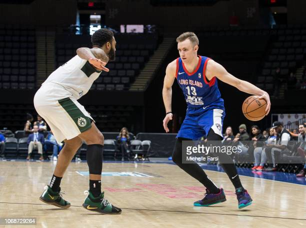 Dzanan Musa of the Long Island Nets handles the ball against the Wisconsin Herd during an NBA GLeague game on December 4 2018 at NYCB Live Home of...