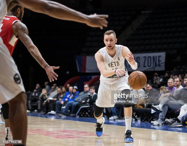 Dzanan Musa of the Long Island Nets passes the ball against the Memphis Hustle during an NBA GLeague game on February 24 2019 at NYCB Live Home of...