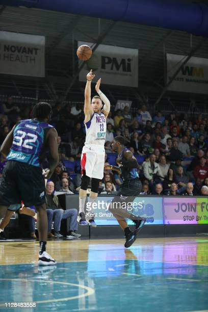 Dzanan Musa of the Long Island Nets shoots against Dwayne Bacon of the Greensboro Swarm in Greensboro North Carolina NOTE TO USER User expressly...