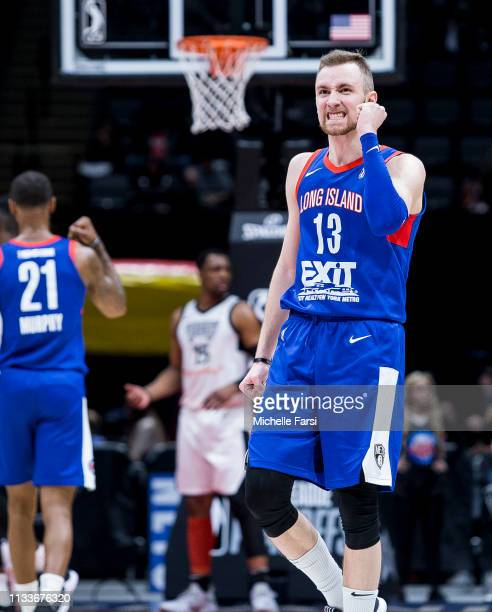 Dzanan Musa of the Long Island Nets shows emotion during an NBA GLeague playoff game v Raptors 905 on March 29 2019 at NYCB Live Home of the Nassau...