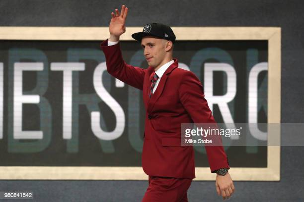 Dzanan Musa reacts after being drafted 29th overall by the Brooklyn Nets during the 2018 NBA Draft at the Barclays Center on June 21 2018 in the...