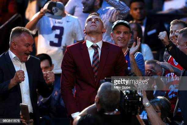 Dzanan Musa reacts in the crowd after being drafted 29th overall by the Brooklyn Nets during the 2018 NBA Draft at the Barclays Center on June 21...