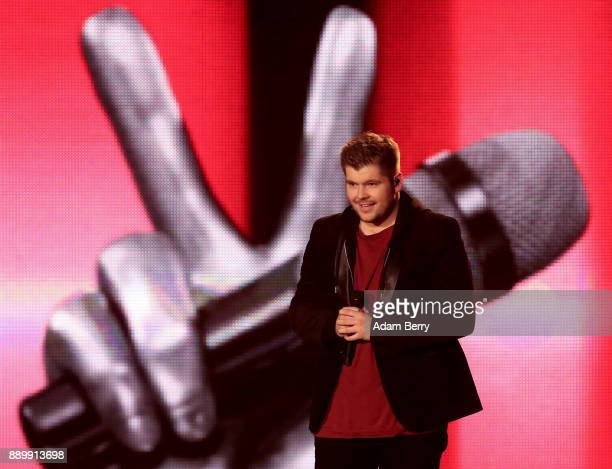 Dzenan Buldic performs during the 'The Voice of Germany' semifinals at Studio Berlin Adlershof on December 10 2017 in Berlin Germany The finals will...