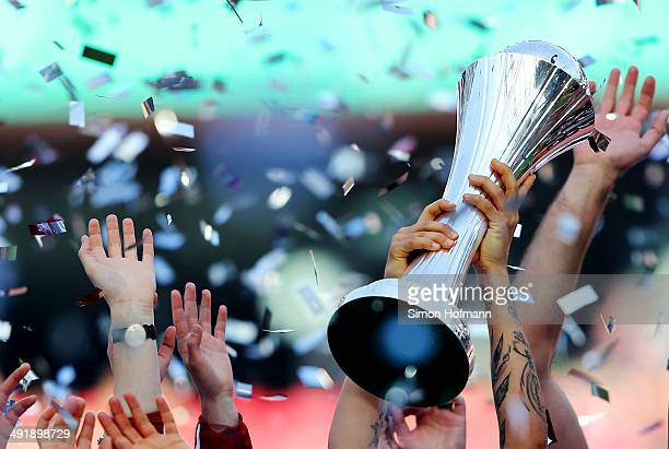Dzenifer Maroszan of Frankfurt celebrates with the trophy after the Women's DFB Cup Final between SGS Essen and 1 FFC Frankfurt at...