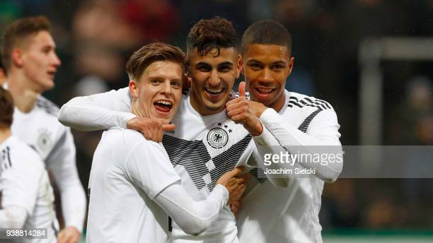Dzenis Burnic Aymen Barkok and Sidney Friede of Germany celebration the Goal 30 for Germany during the international friendly match between U20...