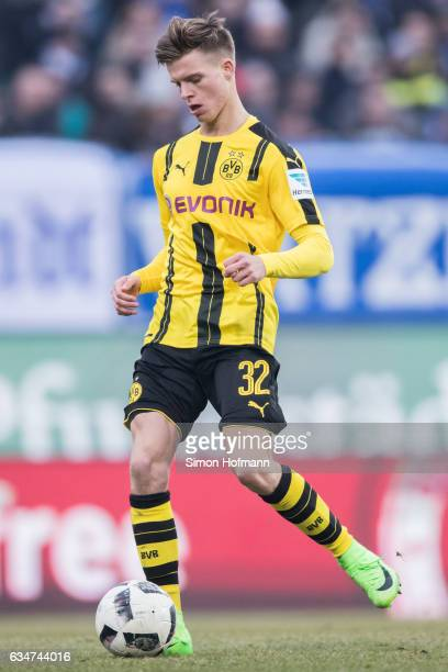 Dzenis Burnic of Dortmund controls the ball during the Bundesliga match between SV Darmstadt 98 and Borussia Dortmund at Jonathan Heimes Stadion am...