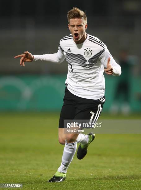 Dzenis Burnic of Germany celebrates his team's first goal during the International friendly match between Germany U20 and Portugal U20 at BWT-Stadion...