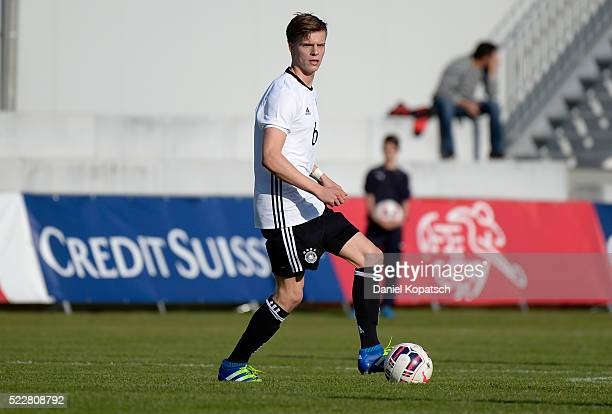 Dzenis Burnic of Germany controls the ball during the U18 International Friendly match between Switzerland and Germany on April 20 2016 in Grenchen...