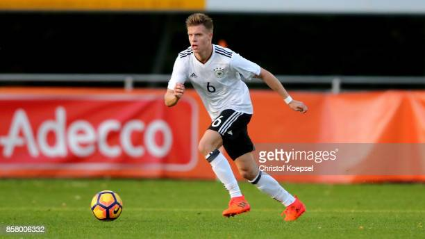 Dzenis Burnic of Germany runs with the ball during the International friendly match between U20 Netherlands and U20 Germany U20 at Sportpark De...