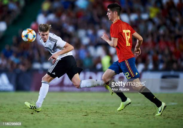 Dzenis Burnic of Germany U21 duels for the ball with Oigan Sancet of Spain U21 during the international friendly between Spain U21 and Germany U21 at...