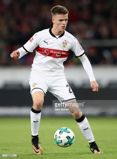 Dzenis Burnic of Stuttgart controls the ball during the Bundesliga match between VfB Stuttgart and SportClub Freiburg at MercedesBenz Arena on...
