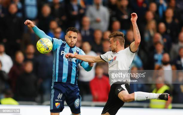 Dzenis Kozica of Djurgardens IF and Filip Rogic of Orebro SK competes for the ball during the Allsvenskan match between Djurgardens IF and Orebro SK...