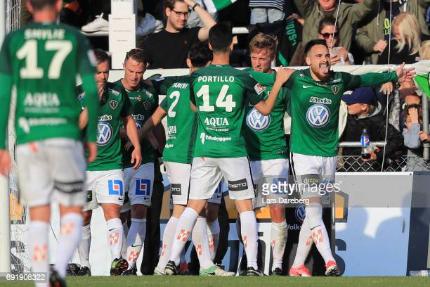 Dzenis Kozica of Jonkopings Sodra celebrate his 11 goal during the Allsvenskan match between Jonkopings Sodra IF and Malmo FF at Stadsparksvallen on...