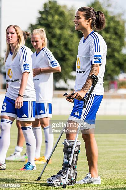 Dzennifer Maroszan attends 1 FFC Frankfurt Team Presentation at Stadion am Brentanobad on August 11 2015 in Frankfurt am Main Germany