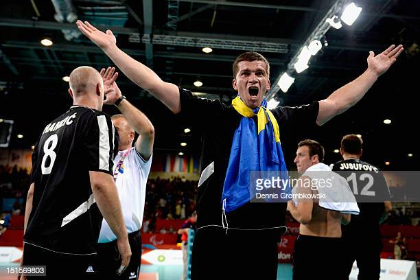 Dzevad Hamzic of Bosnia and Herzegovina celebrates after winning the gold in the Men's Sitting Volleyball competition on day 10 of the London 2012...