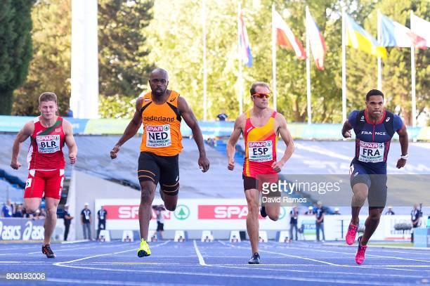 Dzlanis Konanau of Belarus Churandy Martina of Netherlands Angel David Rodriguez of Spain and Stuart Dutamby of France compete in the Men's 100m heat...