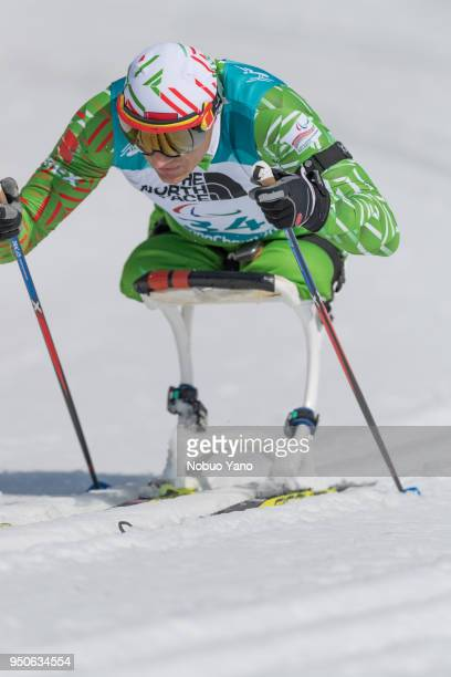 Dzmitry Loban of Belarus competes in Biathlon Men's 125kmSitting at Alpensia Biathlon Centre during day 4 of the PyeongChang 2018 Paralympic Games on...
