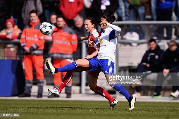 Dzsenifer Maroszan of 1 FFC Frankfurt and Lia Joelle Waelti of Turbine Potsdam battle for the ball during the Women's DFB Cup Semi Final match...