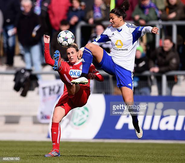 Dzsenifer Maroszan of 1 FFC Frankfurt cand Jennifer Cramer of Turbine Potsdam battle for the ball during the Women's DFB Cup Semi Final match between...