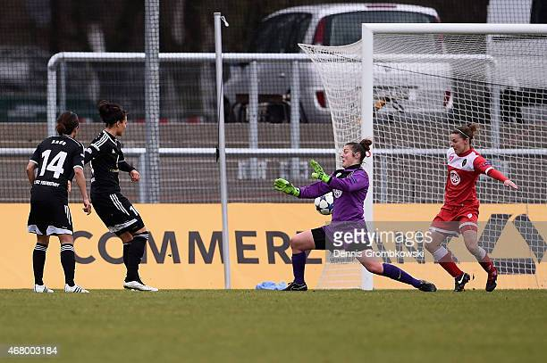Dzsenifer Maroszan of 1 FFC Frankfurt scores the second goal duirng the UEFA Women's Champions League quarter final second leg match between 1 FFC...