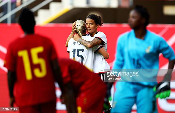 Dzsenifer Maroszan of Germany celebrates after scoring her teams elevens goal during the women's international friendly match between Germnay and...