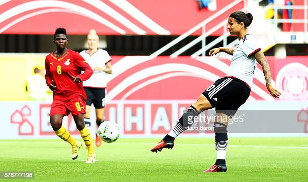Dzsenifer Maroszan of Germany scores her teams second goal during the women's international friendly match between Germnay and Ghana at Benteler...