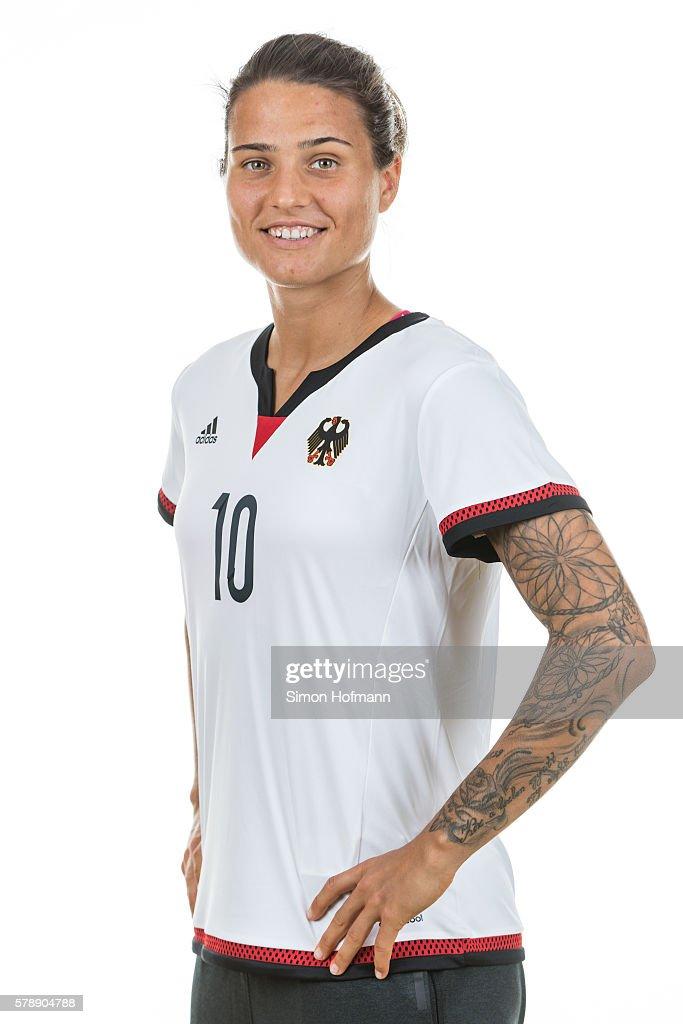 Dzsenifer Maroszan poses during Germany Women's Team Presentation on July 19, 2016 in Paderborn, Germany.