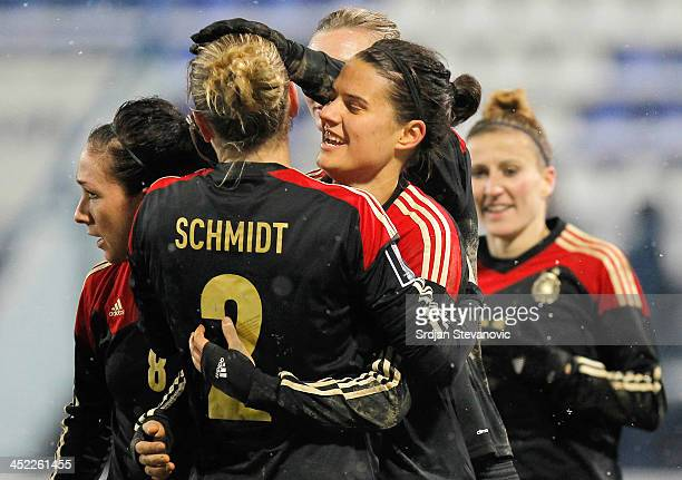 Dzsenifer Marozsan celebrate the goal with Bianca Ursula Schmidt of Germany during the FIFA Women's World Cup 2015 Qualifier between Croatia and...