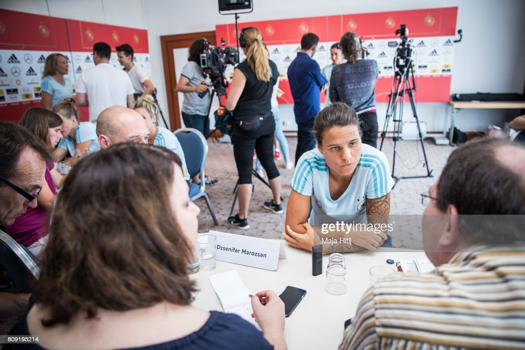 Dzsenifer Marozsan listens to a question of a reporter during Germany Women's National Soccer Team Media Day on July 5, 2017 in Heidelberg, Germany.