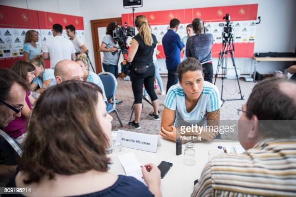 Dzsenifer Marozsan listens to a question of a reporter during Germany Women's National Soccer Team Media Day on July 5 2017 in Heidelberg Germany