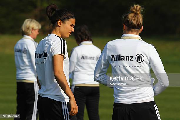 Dzsenifer Marozsan looks on during a Germany Women's training session at the Commerzbank Arena training ground on April 2 2014 in Frankfurt am Main...