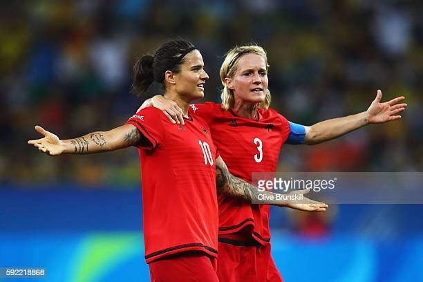 Dzsenifer Marozsan of Germany and Saskia Bartusiak of Germany celebrates after going 02 ahead during the Women's Olympic Gold Medal match between...