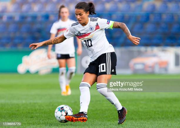 Dzsenifer Marozsan of Germany breaks on the ball during the UEFA Women's EURO 2022 Qualifier match between Montenegro and Germany at Pod Goricom on...