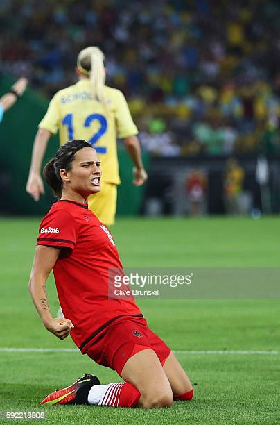 Dzsenifer Marozsan of Germany celebrates after scoring during the Women's Olympic Gold Medal match between Sweden and Germany at Maracana Stadium on...