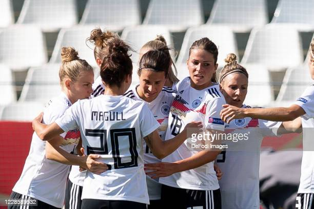 Dzsenifer Marozsan of Germany celebrates after scoring his team's second goal during the UEFA Women's EURO 2022 Qualifier between Germany Women's and...