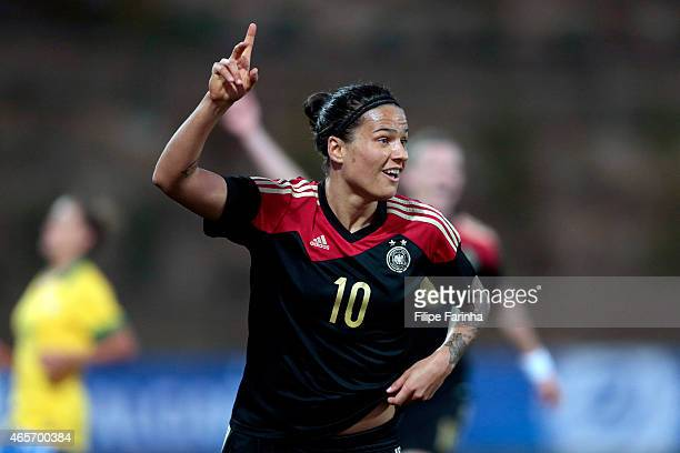 Dzsenifer Marozsan of Germany celebrates her goal during the Women's Algarve Cup match between Brazil and Germany on March 9, 2015 in Parchal,...