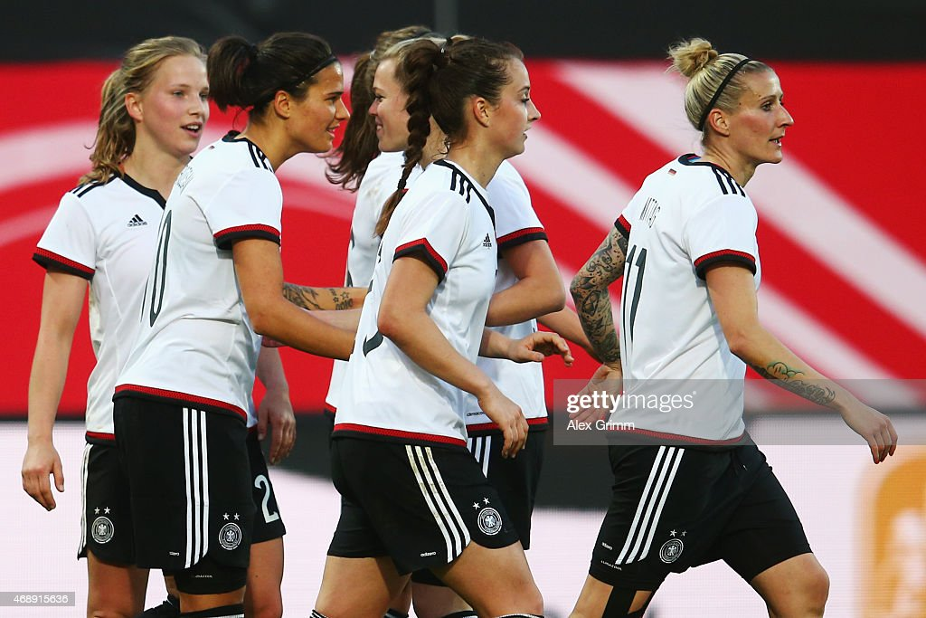 Dzsenifer Marozsan of Germany celebrates her team's fourth goal during the Women's International Friendly match between Germany and Brazil at Trolli-Arena on April 8, 2015 in Fuerth, Germany.