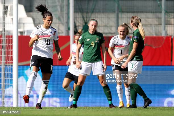 Dzsenifer Marozsan of Germany celebrates the second goal during the UEFA Women's EURO 2022 Qualifier match between Germany and Ireland at Stadion...