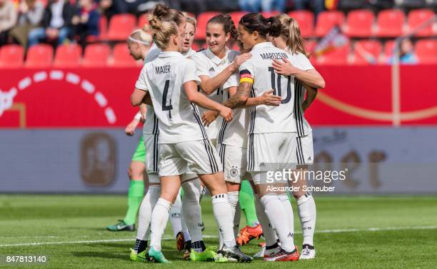 Dzsenifer Marozsan of Germany celebrates the second goal for her team with her teammates during the 2019 FIFA women's World Championship qualifier...