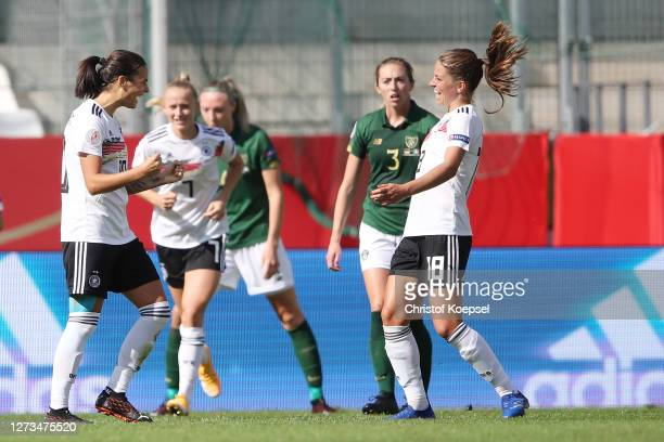 Dzsenifer Marozsan of Germany celebrates the second goal with Melanie Leupolz of Germany during the UEFA Women's EURO 2022 Qualifier match between...