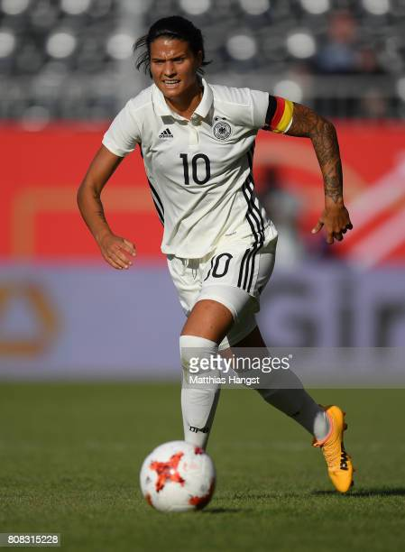 Dzsenifer Marozsan of Germany controls the ball during the Women's International Friendly match between Germany and Brazil at BWTStadion am Hardtwald...