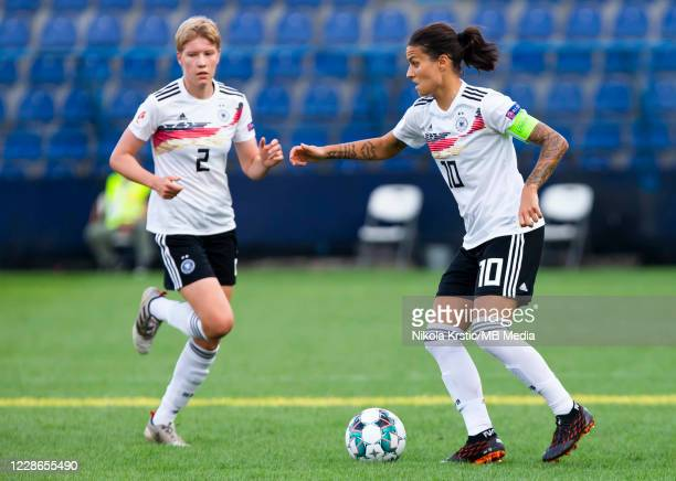 Dzsenifer Marozsan of Germany in action during the UEFA Women's EURO 2022 Qualifier match between Montenegro and Germany at Pod Goricom on September...