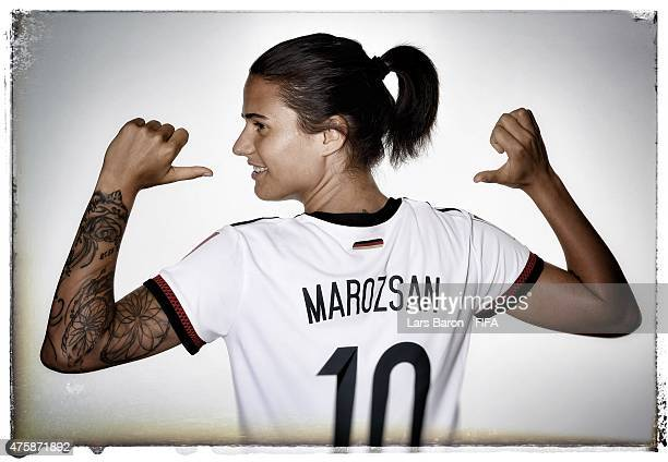 Dzsenifer Marozsan of Germany poses during the FIFA Women's World Cup 2015 portrait session at Fairmont Chateau Laurier on June 3 2015 in Ottawa...