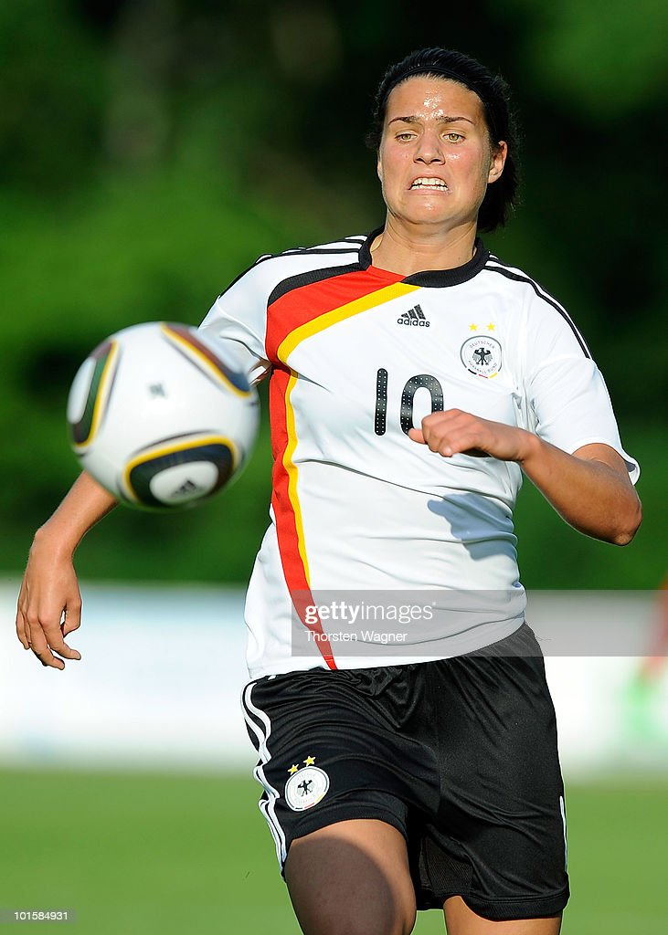 Dzsenifer Marozsan of Germany runs with the ball during the U20 international friendly match between Germany and South Korea at Waldstadion on June 2, 2010 in Giessen, Germany.