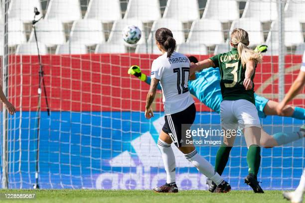 Dzsenifer Marozsan of Germany scores his team's second goal during the UEFA Women's EURO 2022 Qualifier between Germany Women's and Ireland Women's...